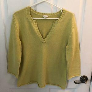 J Jill V Neck Sweater Lime Green